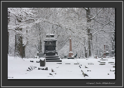 Woodland Cemetery, Dayton, Ohio after a new-fallen snow.